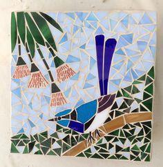 Mosaic bird - blue wren