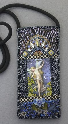 Blue Fairy sunglass case by Diane Hyde - 2015. Bead embroidery on machine quilted fabrics.