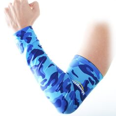 Basketball Blue Camo Compression Arm Sleeve with JERSEY NUMBER