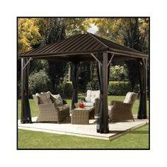 Metal-Patio-Gazebo-Steel-Aluminum-Hard-Top-Outdoor-Pergola-Waterproof-Canopy-Net