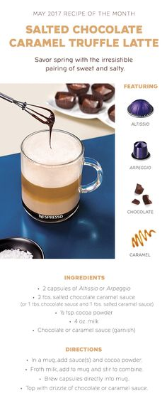 Nespresso USA brings luxury coffee and espresso machine straight from the café and into your kitchen. Best Espresso Machine, Cappuccino Machine, Salted Caramel Sauce, Salted Chocolate, Nespresso Recipes, Caramel Ingredients, Nespresso Machine, Coffee Varieties, Yummy Recipes