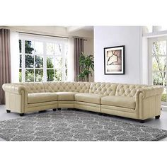 Real Leather Eskridge Traditional Brown Chesterfield Sofa