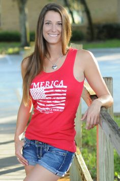 $24.99 'MERICA TANK Red USA Tank Top Shop Simply Me Country Junkie – www.SHOPSIMPLYME.com    #shopsimply