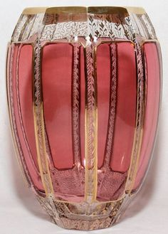 """MOSER CRANBERRY GLASS & GILT VASE, H 8"""":Oval shape with cranberry panel sides and gilt accents.:"""