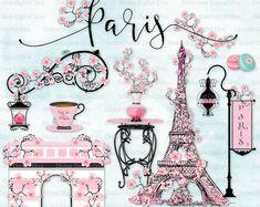 Paris in the Spring Cherry Blossoms Eiffel Tower Pink Parisian Clipart, Paris Party, Paris Theme, Paris Wallpaper, Iphone Wallpaper, Cupcakes Wallpaper, Paris In Spring, Paris Images, Word Art