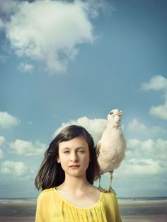 Girl with a seagull by Frieke Janssens