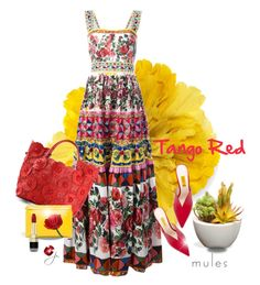 """""""Tango Red"""" by jacque-reid ❤ liked on Polyvore featuring Gucci, Dolce&Gabbana, Attico, National Tree Company, Loewe, mules, dolcegabbana, JaminPuech and loewe"""