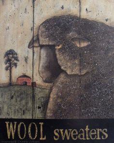 Black Sheep primitive folk art print by Donna Atkins,