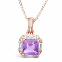 Fine Jewelry Womens Purple Amethyst Gold Over Silver Pendant Necklace myxPhDhIL