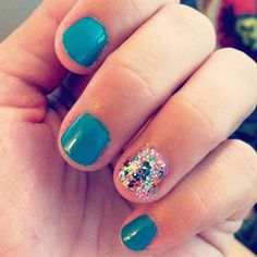 Summer nails. OPI Fly, Nicole by OPI Rainbow in the S-Kylie, Essie Cascade Cool