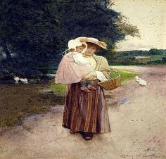 , Going to Market  Watercolour
