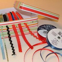 Organzing your ribbon for scrapbooking, creating a ribbon organization box using snap boxes by Marvy Uchida.