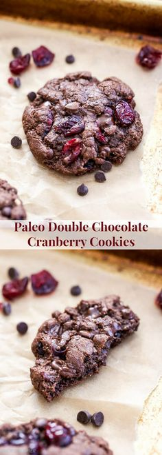 Chewy on the outside with a soft brownie-like interior. These Paleo Double Chocolate Cranberry Cookies are perfect for the holiday season or anytime you get that chocolate cookie craving!
