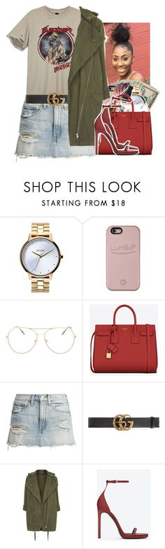 """""""Untitled #2257"""" by txoni ❤ liked on Polyvore featuring Nixon, LuMee, Topshop, Yves Saint Laurent and Gucci"""