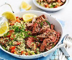 This Middle Eastern dish will tickle your taste buds with its zingy and zesty quinoa tabbouleh and delicious lamb leg steaks coated in cumin seeds.