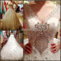 Wholesale Sexy A-Line Bows Applique V-Neck Beaded crystals Cathedral wedding gowns prom dresses bride dress, Free shipping, $310.65-368.42/Piece | DHgate