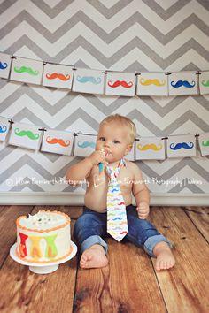 Mustache first birthday cake smash.