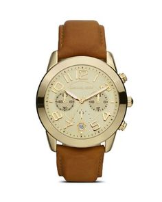 Michael Kors Ladies Shiny Gold Watch on Leather Strap, 41mm | Bloomingdale's