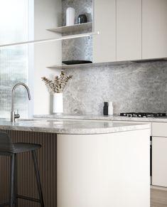 Curved Kitchen Island, Timber Kitchen, Kitchen Doors, New Kitchen, Kitchen Ideas, Open Space Living, Open Plan Living, Living Spaces, Kitchen Interior