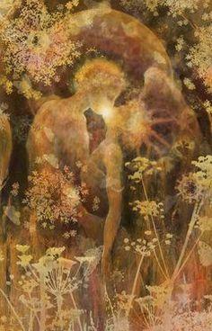 "Saatchi Online Artist Leora  Honeyman; Printmaking, ""Beltaine Kiss"" #art"