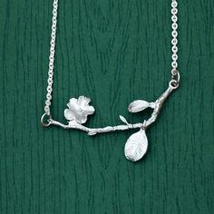 Blume Zweig Blatt Halskette - rosevespa - Ketten & Colliers - Silberschmuck - DaWanda