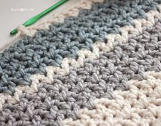 Quick and Easy Chunky Crochet V-Stitch Afghan (Leslie's Lapghan) - Repeat Crafter Me