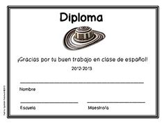 Free certificates for Spanish class