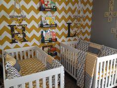 My twins nursery bedding - yellow, grey, chevron, polka dots, not a peep, land of nod.