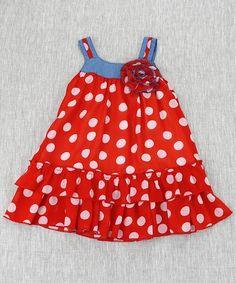 Red & White Polka Dot Drop-Waist Dress - Toddler & Girls