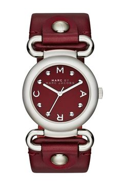 28253a702e545 MARC BY MARC JACOBS 'Small Molly' Leather Strap Watch Cor Rubi, Handbag  Accessories