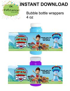 Paw Patrol Bubble bottle label- Instant Download -  Paw Patrol Party Label - Party Favor - Birthday Bubbles! by OKprintables