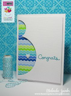 The Scrap Farm - Congrats baby card.  Great ombre colors and velvet heart brads is adorable