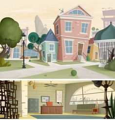 Cenários do artista Sebastien Mesnard Building Illustration, City Illustration, Digital Illustration, Fantasy Illustration, Cartoon Background, Animation Background, Art Background, Bg Design, Game Design