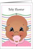 African American New Baby Shower Invitations for a Baby Girl Card by Greeting Card Universe. $3.00. 5 x 7 inch premium quality folded paper greeting card. Find Baby Shower invitations for your special event at Greeting Card Universe. A picture is worth a thousand words, so why not send a photo Baby Shower invitation this year? Allow Greeting Card Universe to handle all your Baby Shower invitation needs this year. This paper card includes the following themes: colorful, cute, a...