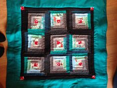 Teal and Gray log cabin baby quilt
