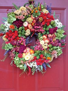 Colorful Dried Flower Wreath Floral Wreath by CloverHollowDesigns