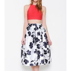"""The Beauteous Flower"" Floral Print Flare Skirt White skirt with black floral prints. Brand new without tags. PRICE FIRM. NO TRADES. Bare Anthology Skirts"