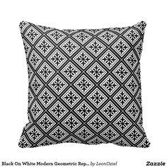 Shop Blue On White Modern Geometric Repeat Pattern Throw Pillow created by LeonOziel. Decor Pillows, Decorative Pillows, Throw Pillows, Repeating Patterns, Blue And White, Modern, Color, Design, Art