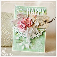 card vintage flowers leaves doily scripty words and letters scripty happy border  Ajgacia