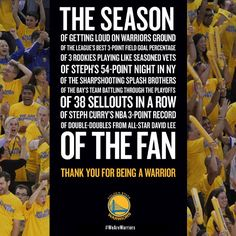 We celebrate the best fans in the #NBA with this special Thank You message. View videos at warriors com/thankyoufans