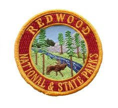 California Redwoods Patch Northern California Redwood Trees (Sequoia Semperviren) Humboldt, Trinity, Mendocino Counties Collectible Iron-On High Quality Stitching