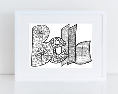 name coloring pages doodles