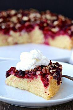 This Raspberry Pecan Cake can be whipped up in a pinch and is a guaranteed crowd-pleaser. Serve with a dollop of whipped cream!