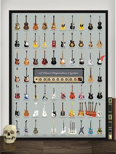 Get obsessed with this catalog of 64 famed guitars collected from over 75 years of rock 'n' roll history. With illustrated representations of legendary instruments from artists like Fleetwood Mac, Prince and The Red Hot Chili Pepper Guitar Art, Music Guitar, Cool Guitar, Playing Guitar, Guitar Chords, Guitar Tattoo, Acoustic Guitar, Ukulele, Guitar Logo