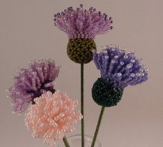 French Beaded Flowers | French beaded vase | Spring bouquet beaded flowers with vase. by ...