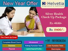 Happy New Year Offer - 50% Discounts of Health Packages.  Silver Health Package at HD : Get Full Body #Health Checkup Package in just Rs 2400!  Test Details - CBC, #Liver Profile, #Kidney Profile, #Diabetes Profile, #Thyroid Profile & Whole Abdomen #Ultrasound! #health #body #radiology #xray #diagnostics #fitness #southdelhi #GK1 #Delhi #NCR #happynewyear #offer #xmasoffer   Click here to know more: https://goo.gl/HFggi5