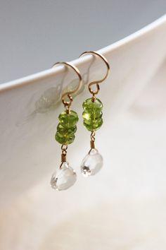 Green Peridot White Topaz Stacked Earrings 14k by PrincessTingTing, $35.00