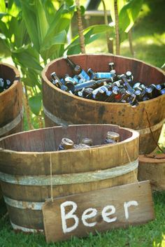 Ways to Use Wine Barrels in Your Wedding Decor ★ wine barrels bath for drinks with ice from half of wine barrels event essentials hawaii Wedding Events, Wedding Reception, Budget Wedding, Deco Buffet, Deco Champetre, Dream Wedding, Wedding Day, Wedding Summer, Wedding Vows