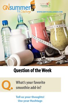 What is your favorite smoothie add-in? Post your favs here with your track hashtag and #GNFitChallenge to be entered to win this week's giveaway prize! Need some inspiration? Click here: http://growingnaturals.com/2016/03/7-easy-ways-to-up-the-ante-on-your-protein-smoothie/