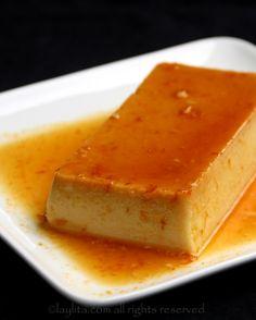 Coconut flan with orange caramel - Laylita& Recipes Pudding Desserts, Custard Desserts, Köstliche Desserts, Delicious Desserts, Dessert Recipes, Yummy Food, Bolo Flan, Flan Cake, Dessert Thermomix